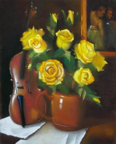 """"""" Le bouquet et le violon """" huile sur toile 65 cm x 50 cm"""