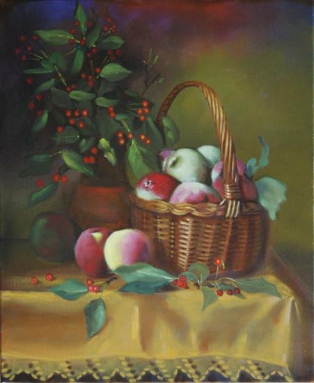 """"""" Le panier de pommes sur une nappe """" huile sur toile 46 cm 38 cm"""