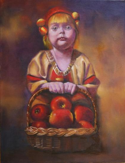 """"""" Nina et le panier de pommes """" huile sur toile 65 cm x 50 cm"""